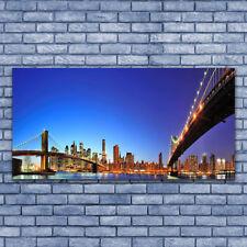 Impression sur verre acrylique Image Tableau 140x70 Architecture Ville Pont