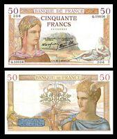 France, 50 Francs, Cérès, 1939, P. Rousseau and R. Favre-Gilly P 85 / XF