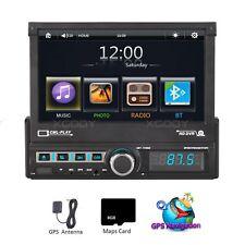 "1 DIN Single 7"" Touch Screen Car MP5 GPS Player BT Radio Camera Sat NAV EU Map"