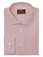 Alfa Perry Trim Fit Red Check Spread Collar Cotton Dress Shirt