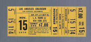 VINTAGE 1970 NFL NEW YORK JETS @ LOS ANGELES RAMS FULL FOOTBALL TICKET - NAMATH