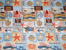 BTY Nautical BY THE SEA Patch on Blue Print 100% Cotton Quilt Craft Fabric YARD