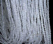 """3MM ROCK CRYSTAL CLEAR QUARTZ GEMSTONE AAA FACETED ROUND LOOSE BEADS 15.5"""""""