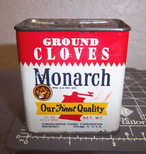 Vintage Monarch GROUND CLOVES spice tin, beautiful lion head logo partially full