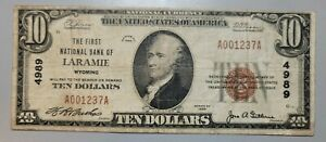 LARAMIE, WYOMING 1929 NATIONAL NOTE. CHARTER 4989. Banknote Bank Currency WY WYO
