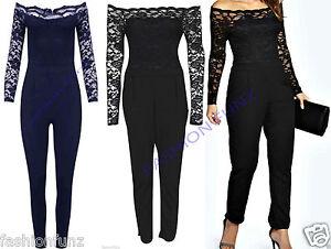 Womens Ladies CROCHET Lace Trim Off The Shoulder Bardot Jumpsuit Trouser Dress