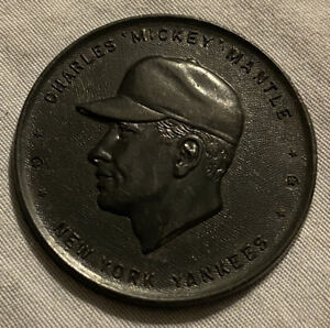 1955 Black Mickey Mantle armour baseball coin. Very Good Condition.