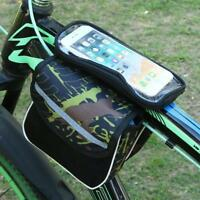 Bicycle Bags Cycling Bike Front Frame Saddle Tube Bag Pouch 6''Phone Storage Bag