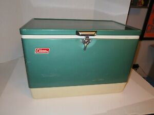 Vintage Coleman Green Metal Steel Belted Chest Cooler w/Opener Handles