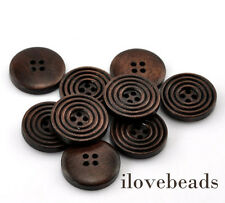 "50PCs Dark Coffee 4 Holes Round Wood Sewing Buttons 20mm(6/8"") Dia. Hot"