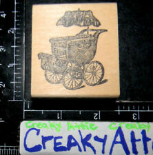 VINTAGE OLD BABY CARRIAGE WICKER RUBBER STAMP AFFAIR MAINE STREET X1723
