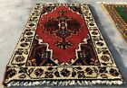 Distressed Hand knotted Vintage Indo Door Mat Wool Area Rug 3 x 2 Ft (1970 KBN)