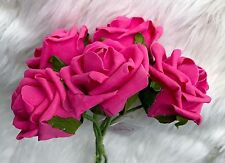 5 Hot Pink Poly Foam Top Quality Roses 7cm Head Wedding Flowers Table Decoration