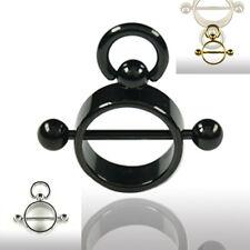 Brust Piercing Ring mit beweglichem Ring BDSM Ring Slave Ring der O 6mm breit
