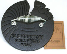 Old Mountain Pre Seasoned 10150 Rooster Shaped Bacon / Grill Press, 7 1/2 Inch D