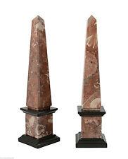 Obelisco Bicolore in Marmo Rosso Fossile Nero Red & Black Marble Obelisk H.33CM