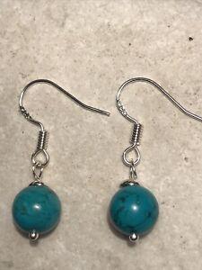 Genuine Turquoise Gemstone Earrings - 925 Sterling Silver Gift Bag - Free P&P