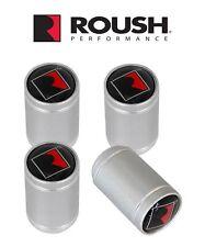 Roush Mustang F150 R Logo Silver Wheel Tire Metal Valve Stem Caps Set Of 4