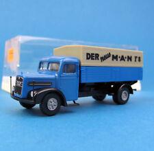 Brekina H0 7200 MAN F8 LKW Pritsche Plane Blau HO 1:87 Box