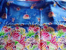 coupon tissu  poissons  (  fond de mer )   54  X  113 cm