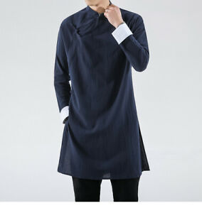 Chinese Cotton Men Linen Tang Suit Over Knee Long Jacket Tai Chi Kung Fu Uniform
