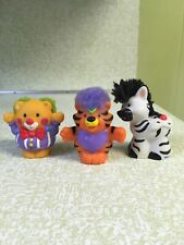 Fisher Price Little People Circus Tiger Zoo fuzzy Touch & Feel Purple Hair Bear