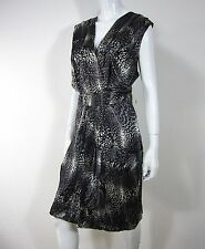 KENNETH COLE NEW YORK NWT SLEEVELESS 100% SILK DRESS SIZE 14 BLACK WHITE 050