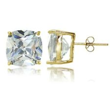 Gold Tone over Sterling Silver Cubic Zirconia 10mm Cushion Cut Stud Earrings