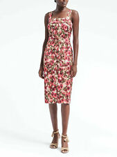 new Banana Republic XS 2 p Belted Midi Apron Dress Sleeveless Floral Pink Satin
