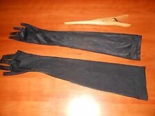 Vintage SHINY BLACK Nylon EVENING GLOVES Fingertips Cut for HALLOWEEN COSTUME