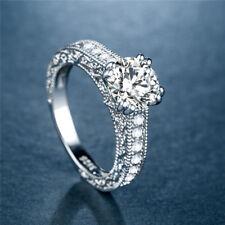 Fashion Women Round Cut White Sapphire 925 Silver Jewelry Wedding Ring Size 10