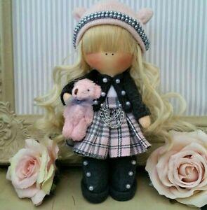Handmade Rag Doll Hand made in UK Tilda doll Ooak doll BRIE 8 inch tall