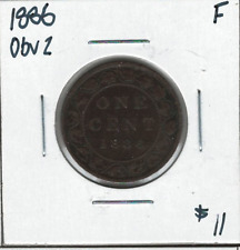 Canada 1886 Large 1 Cent Obv. 2 F