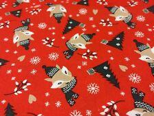 Christmas Fox in winter woolies red half metre free p&p, 100% cotton.