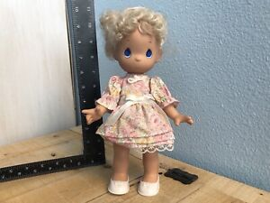 """Precious Moments Doll 11"""" Floral Dress Blonde Hair Hard Silicone Baby 1992"""