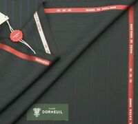 DORMEUIL 'OPAL EXTRA SHINE'  BLACK/DARK NAVY STRIPE WOOL SUITING FABRIC 2.25m