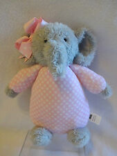 "Mud Pie Mudpie Elephant Baby Bow Buddy Polka Dot Pink Stuffed Plush 10"" Toy Soft"