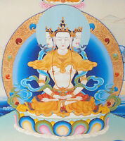 "16"" BLESSED TIBETAN THANGKA PAINTING POSTER :VAIROCANA, BUDDHA OF SUNSHINE ="