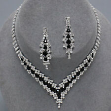 Glitzy Glamour Black Clear Diamante Crystal Sparkly Jewellery Set Prom Party 346