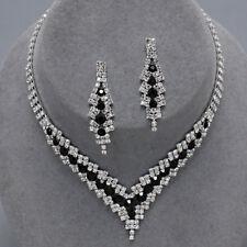 Black diamante necklace set prom bridal party sparkly rhinestone evening 0346