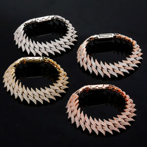"""Bracelets Miami Cuban Link Chain Thorns Copper Gold Plating AAA CZ 7"""" 8"""""""