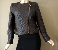 Michael Kors Women's Chocolate Brown Leather Quilted Moto Jacket Size L