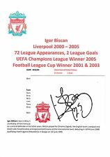 IGOR BISCAN LIVERPOOL 2000-2005 ORIGINAL HAND SIGNED CRESTED CARD