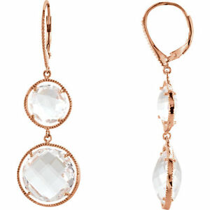 Clear Quartz Lever Back Earrings in 14K Rose Gold Plated in Sterling Silver