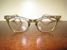 Vintage 1950's Women's Cat Eye Eyeglasses Glasses U/Z 5 1/2 USA Silver