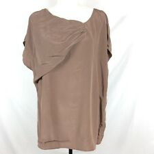 A pea in the pod collection womens blouse size Large brown knot 100% silk