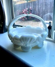VTG White Westmoreland Milk Glass Trinket Jewelry Sugar Candy Bowl Dish Basket