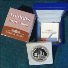 PIECE 1,1/2 EUROS BE ARGENT 2008 «LOURDES» MONNAIE DE PARIS .COFFRET COMPLET