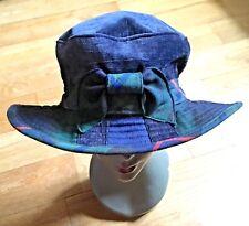 Stylish Women Brimmed Hat~Tartan Plaid & Bow~Made In Scotland~Velvet & Cotton~ M