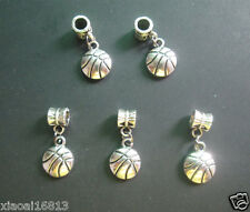 10pcs Tibetan Silver Basketball Charms Dangle Beads Fit European Bracelet